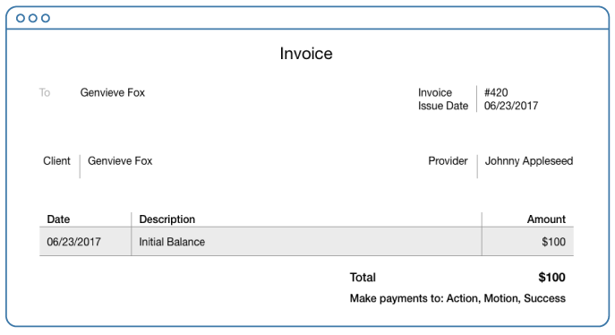 Initial balance added as a Product in an invoice in SimplePractice