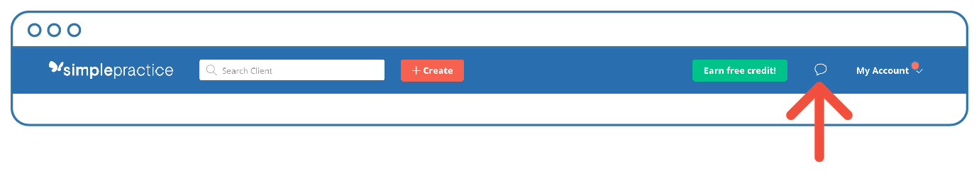 Click the white speech bubble at the top of the page in your SimplePractice account