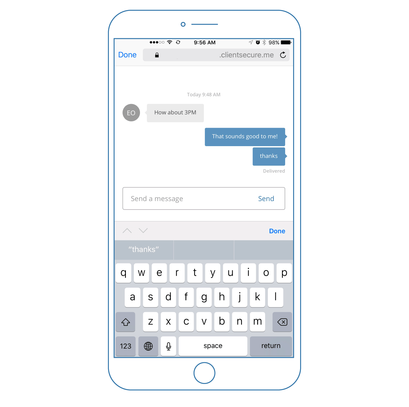 You can send and receive secure messages on your mobile device with SimplePractice