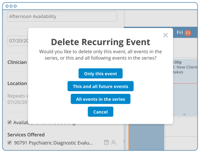 Deleting a recurring event in SimplePractice
