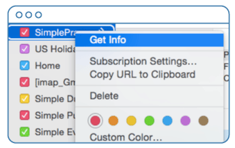 Selecting Get info on your synced SimplePractice calendar on OS X