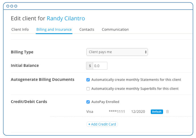Check the AutoPay Enrolled box in the client's Billing and Insurance tab to enable AutoPay for a client