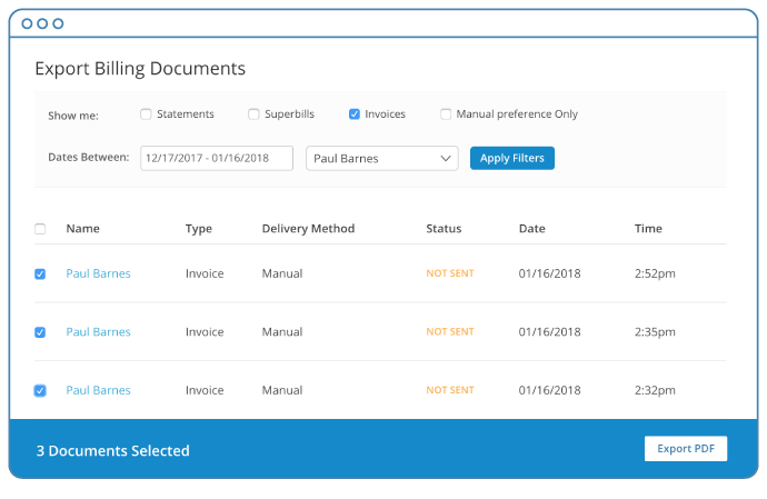 You can export Billing Documents for printing and download