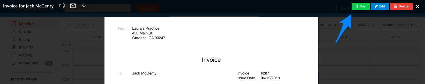 Clicking the Pay button on an invoice in SimplePractice