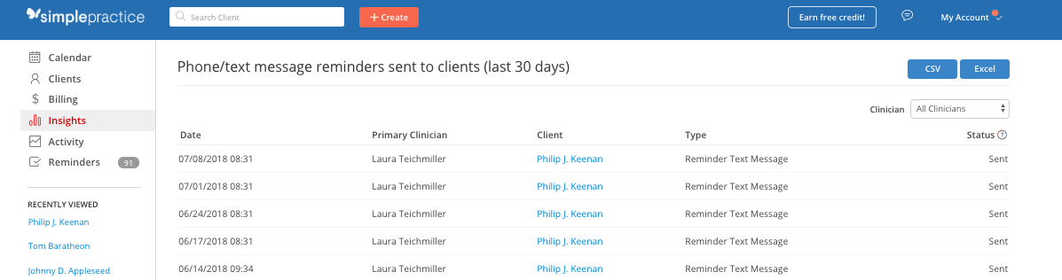 You can see all of your previous reminders sent to clients in the last 30 days in SimplePractice