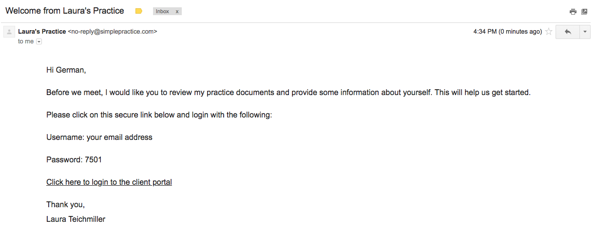 Example of an email in SimplePractice