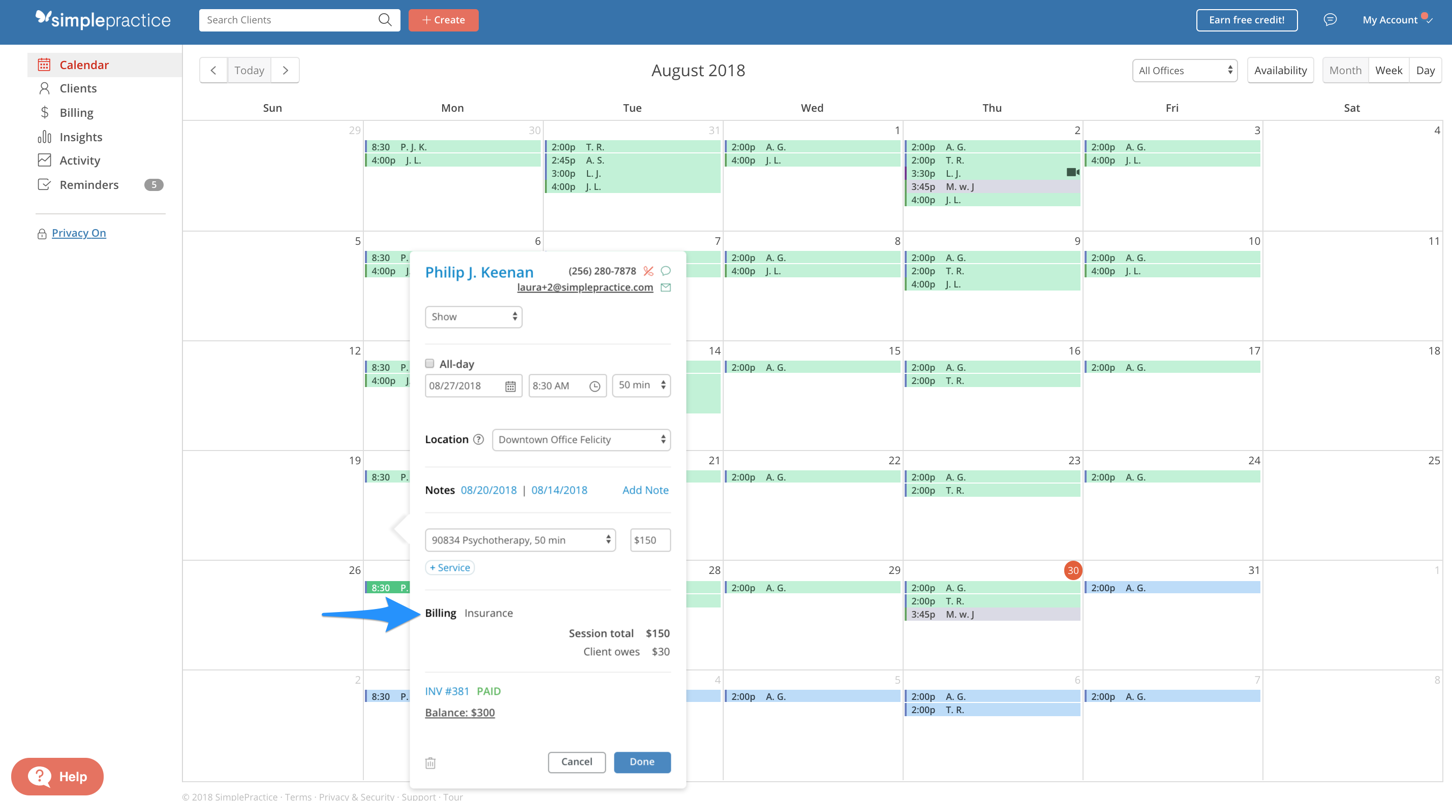 Viewing Billing Type through the client's appointment in the calendar in SimplePractice