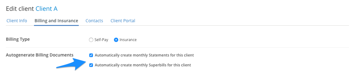 You can create monthy statements and superbills for clients