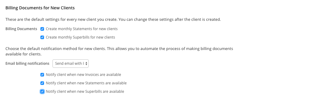 You can set default billing settings for every new client