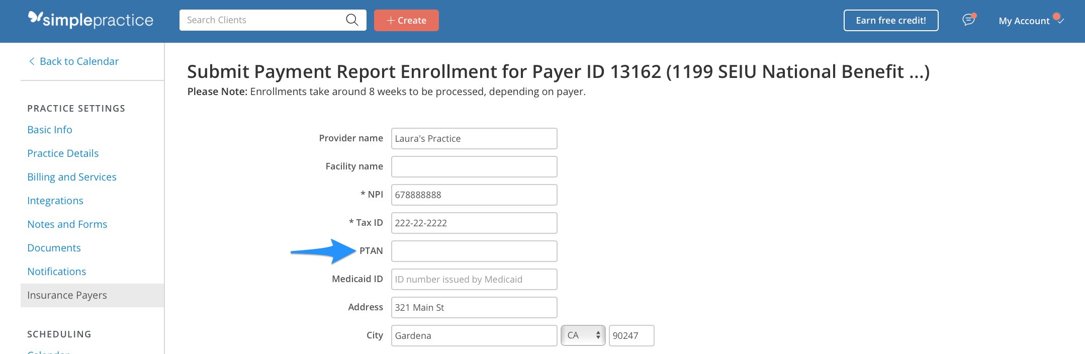 Leave PTAN field blank for anything other than Medicare enrollment in SimplePractice
