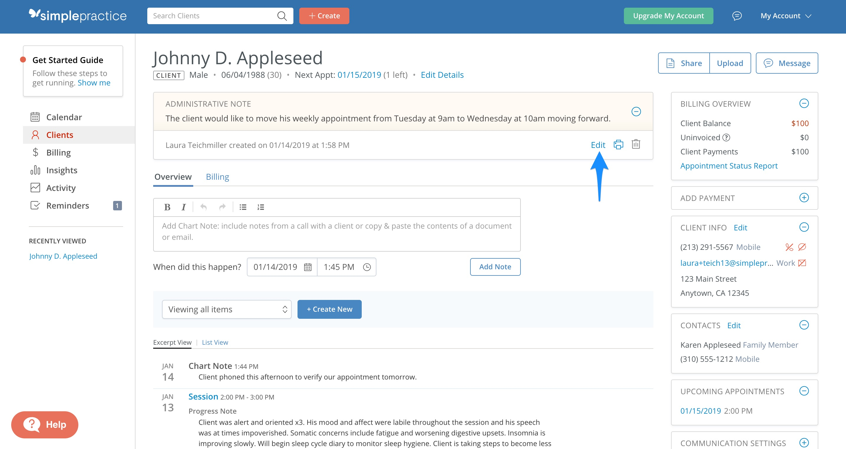 Click the blue Edit link to edit your administrative note