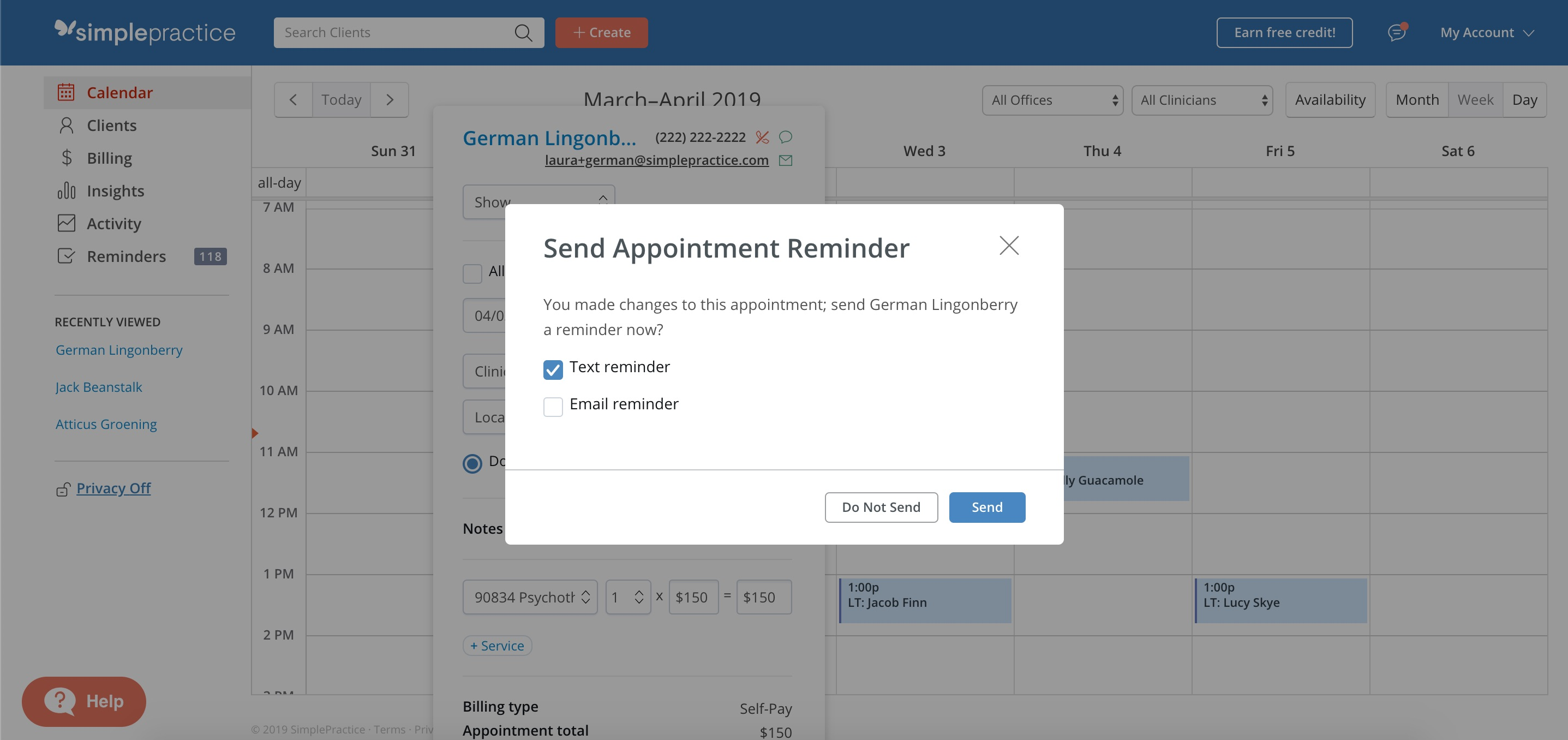 Prompt to set up client reminders in SimplePractice