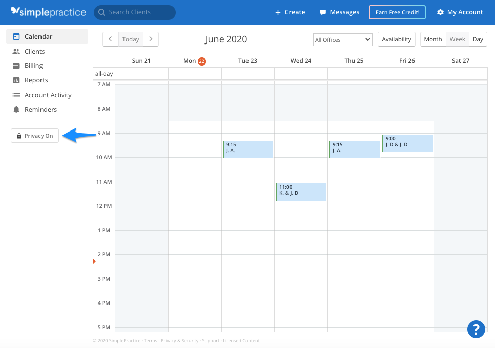 privayon.simplepractice.calendarhomepage.png