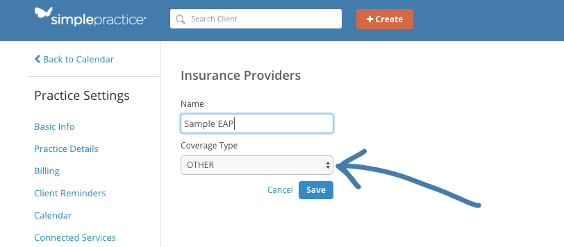 Selecting the Coverage Type as OTHER for an EAP in SimplePractice